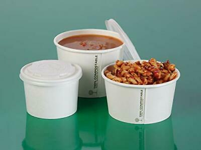 Compostable Soup Containers with Lids [50 SETS] - Biodegradable Paper Soup Cup