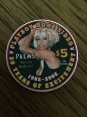 Palms Hotel Casino $5 PLAYBOY 20 Year Pamela Anderson Home Video Chip