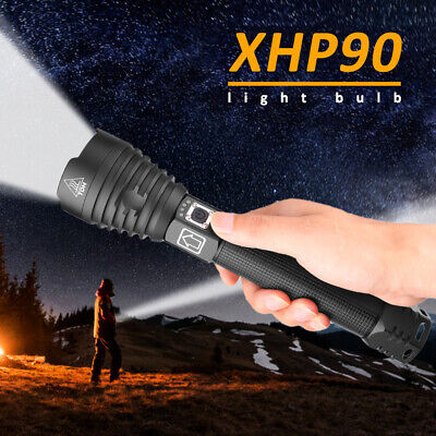 High Power 900000Lumens XHP90 Zoom Flashlight LED Rechargeable Torch Headlamp UK