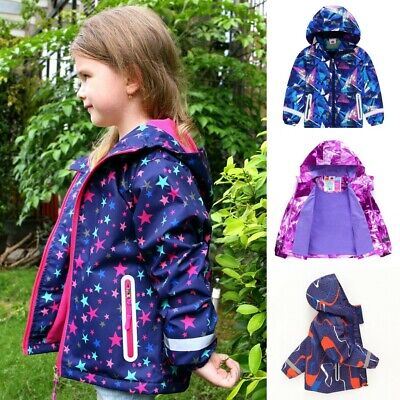Age 3-12 Y Girls/Boys Kids Waterproof Raincoat Hooded Fleece School Lined Jacket