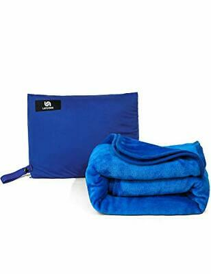 LEISIME 4 in 1 Portable Travel Blanket.The Latest Compact Airplane (Blue)
