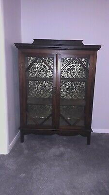Antique vintage early 20th century double door glazed display cabinet