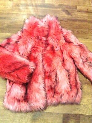 BNWOT **NEXT* GIRLS FAUX FUR PINK/BLACK JACKET** Age 9-10