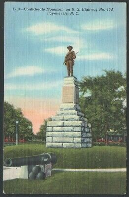 CONFEDERATE MONUMENT FAYETTEVILLE NC North CAROLINA LINEN POSTCARD Excellent!