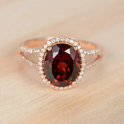2.50Ct Oval Cut Red Garnet And Diamond Halo Engagement Ring 14K Rose Gold Finish