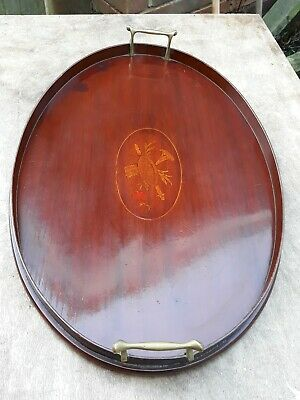 Edwardian Inlaid Marquetry Mahogany Gallery Serving Tray