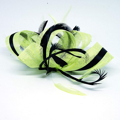 Citrus lime green and black fascinator on a clip, comb and Alice band