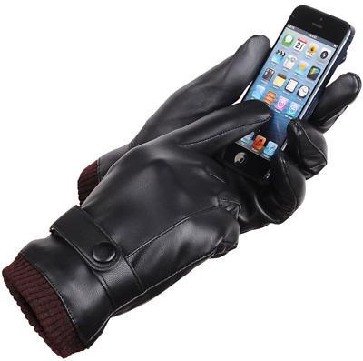 Winter Men Touch Screen Thermal Lined Gloves Real Leather Black Driving Gift Uk