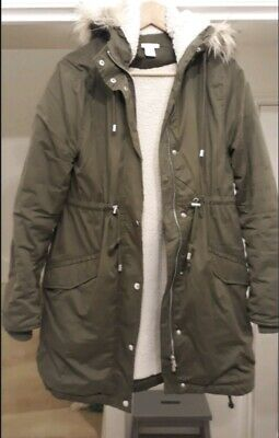 H&M MAMA MATERNITY SHERPA LINED KHAKI QUILTED PARKA COAT SIZE Sml 8,10 £69.99