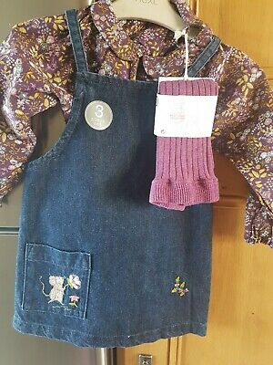 Next Girls Outfit Top Drnim Pinafore @tights Age 2-3 Years