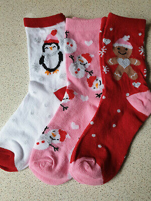 Gorgeous Christmas Girls Socks x 3 shoe size 9-12 NEW