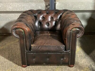Vintage Millbrook distressed leather chesterfield armchair club chair in brown