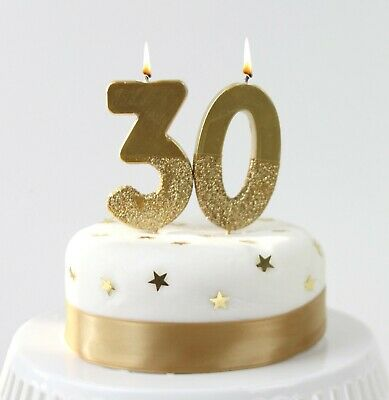 GOLD GLITTER DIPPED NUMBER CANDLE - Birthday Party Cake Decoration Tableware