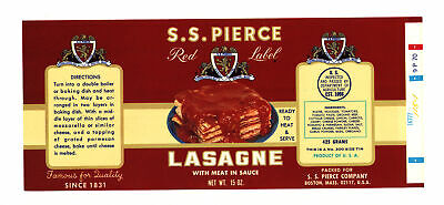 Vintage SS PIERCE RED LABEL Lasagne Boston MA ORIGINAL Can Label Lithograph