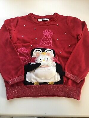 Girls Marks And Spencer Penguin Red Christmas Jumper Age 4-5 Years