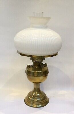 Antique Duplex Oil Lamp With Ribbed Milk Glass Shade