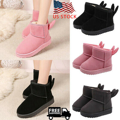 Kids Girls Fur Lined Snow Ankle Boots Rabbit Ears Winter Warm Slip On Shoes SIZE