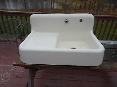 Antique Sink Porcelain white 37 inches wide Vintage 1930's with faucet