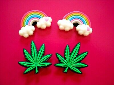 Shoe Charm Accessories Wristband Plug Button Marijuana Weed Compatible w/Crocs