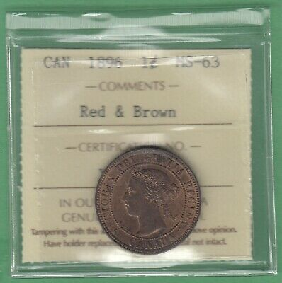 1896 Canadian Large One Cent - Red & Brown - ICCS Graded MS-63