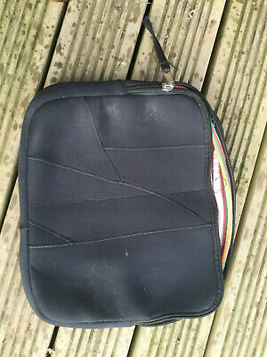 laptop case, handmade from old wetsuits and lined with Kenyan Cotton Kikoy
