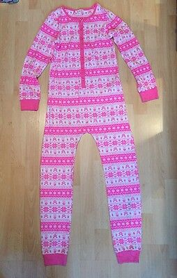 New Girls Age 9-10 Years Pink White One Piece Bluezoo Pyjamas