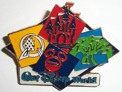 WDW Walt Disney World Four Parks One World Icons Spaceship Tower Castle Tree Pin