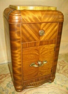 Stunning Vintage Art Deco Waterfall Quilted Golden Striped Mahogany Nightstand