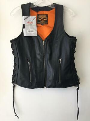 Milwaukee Leather Womens Open Neck Side Lace Zipper Front Vest Size XL