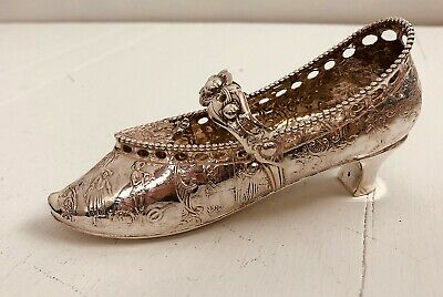 Antique English sterling silver ladies miniature shoe/slipper Hand Chased