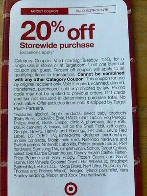 Target 20% Off Coupon On Your Order From 12/3-12/14/19! (Online or In Store)