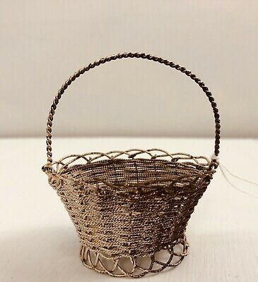"Antique Sterling silver 3"" miniature woven basket with handle C. 1880 Victorian"