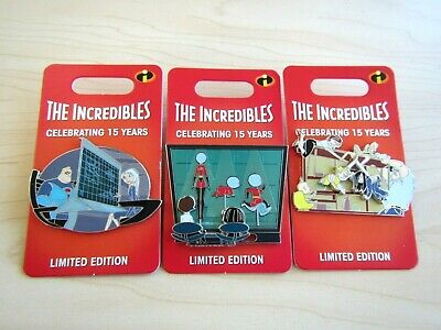 3 New Disney Parks Limited Edition The Incredibles 15 Years Trading Pin 15Th Ann