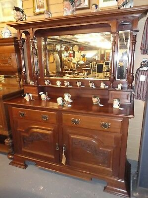 A Victorian Superb Quality Solid Mahogany Carved Mirror Back Sideboard Dresser