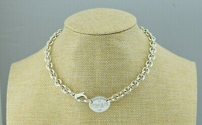 """Please Return To Tiffany & Co. Silver Oval Tag Choker Chain Link Necklace 15.5"""""""