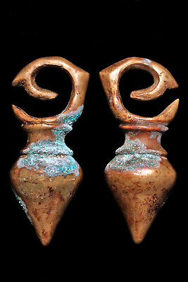 Authentic Antique Dayak Bronze Hand Made Matching Earring Pair, circa 1860!