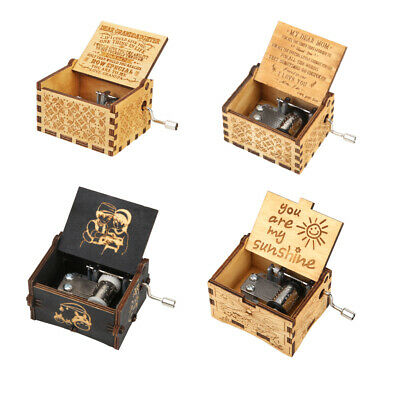 Carved Wooden Hand Cranked Retro Music Box Manual Kids Birthday Gifts Home Decor