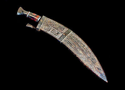 Authentic Antique Nepalese 3 Daggers + A Hand Carved Wooden Sheath; Circa 1870!