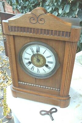 Mantel  Clock Hac Striking  Clock  Key & Pendulum  Working