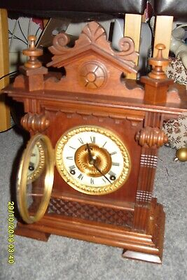 Ansonia mantle clock STRIKING  ON A COIL WORKING  KEY PENDULUM