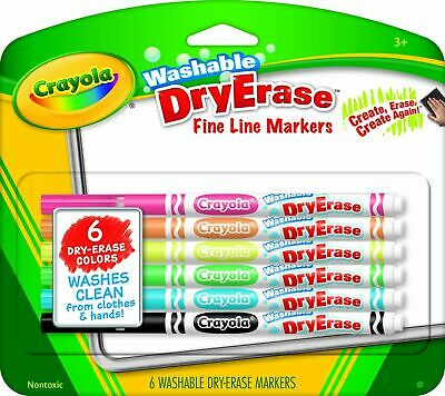 Crayola Washable Dry-Erase Fine Line Markers,6 Classic Colors Non-Toxic ArtTools
