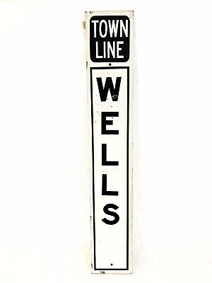 """Vintage Wells Maine Town Line Road Sign Reflective 36"""" x 6"""""""