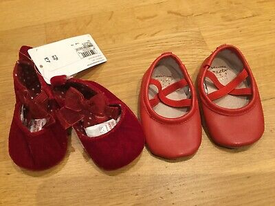 2 X Pairs Of Baby Girls Red Soft Shoes Size 3-6 Months BNWT Next M&S Christmas