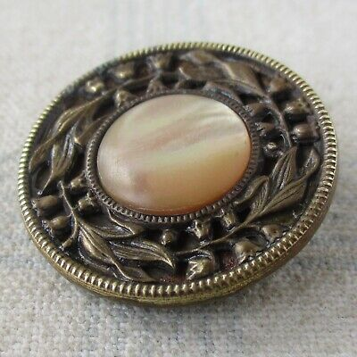 "1 1/16"" Antique Stamped Brass Button w Mother of Pearl Inset"