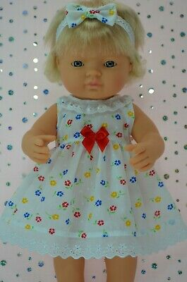 Dolls Clothes For 38cm Miniland Doll FLORAL DRESS~HEADBAND