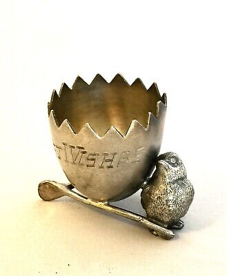 19th Century Silverplate Egg Cup Best Wishes W/Chick And Wishbone