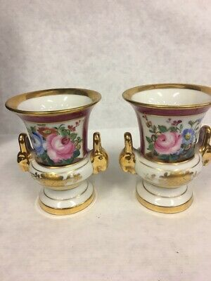 Pair Sevres French Porcelain Small Urns Maroon, Gold Trim, Rose Floral Figural