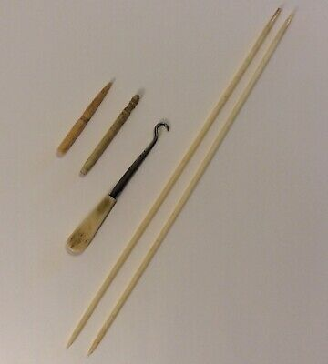 Antique Bovine Bone Sewing & Knitting Tools Needles Button Hook Lot Of 5