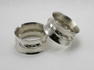 Wallace 5622 Sterling Silver Round Napkin Rings - Set of 2 - No Monogram