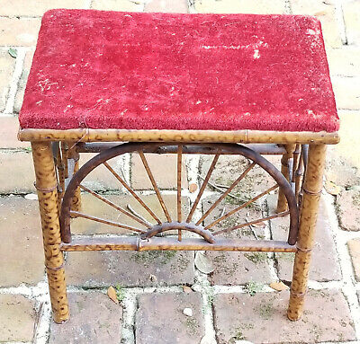Faux Bamboo Antique Victorian William Morris Co Rush Seat